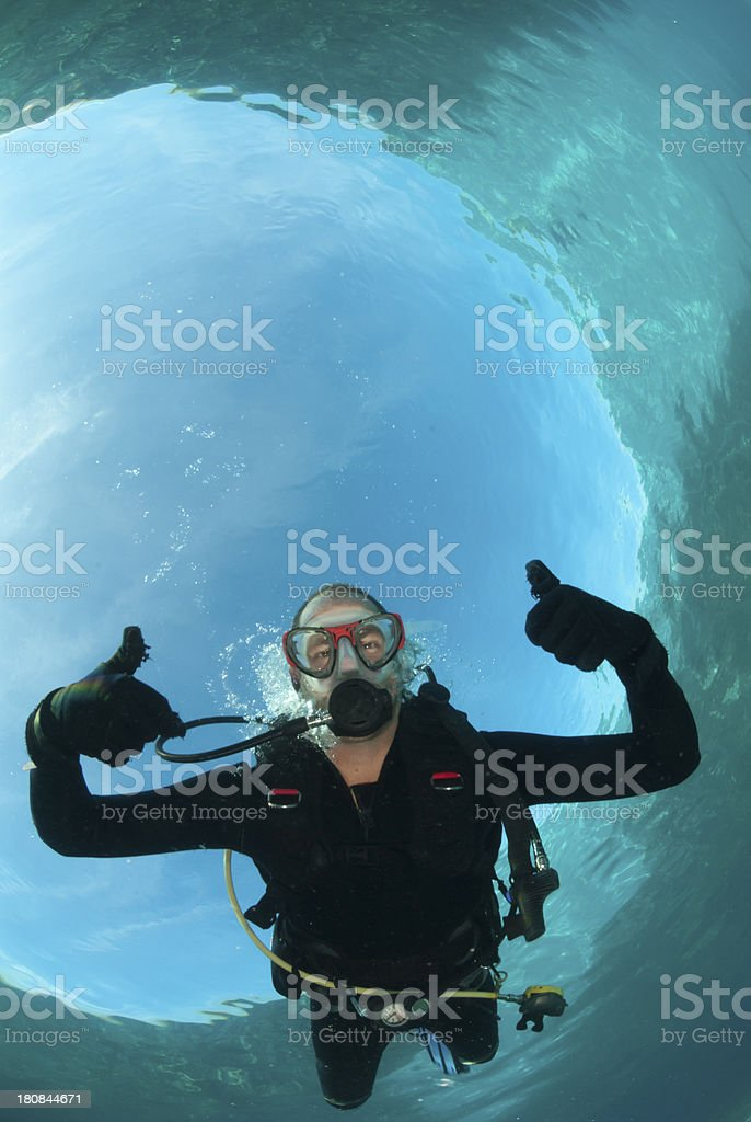 scuba diver gives thumbs up stock photo