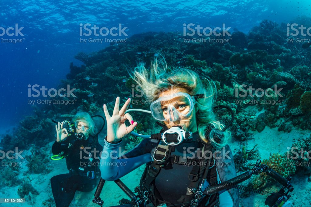 Scuba diver is exploring and enjoying Coral reef  Sea life Couple Two sporting women Underwater photographer
