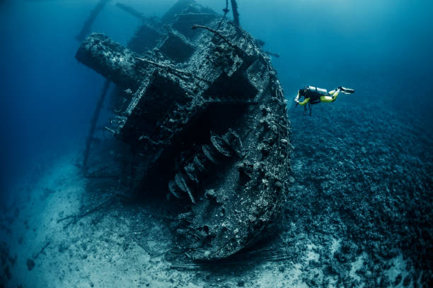 scuba diver observing a large shipwreck completely rusted and overgrown lying underwater in the red sea - wreck diving stock pictures, royalty-free photos & images