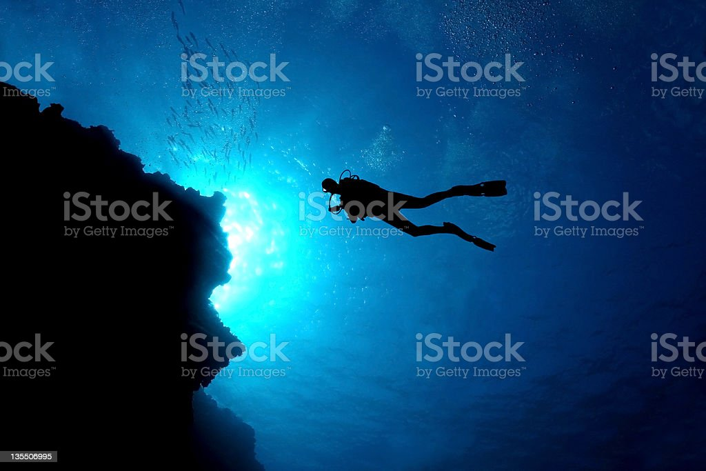 Scuba Diver Silhouette - Cozumel, Mexico stock photo