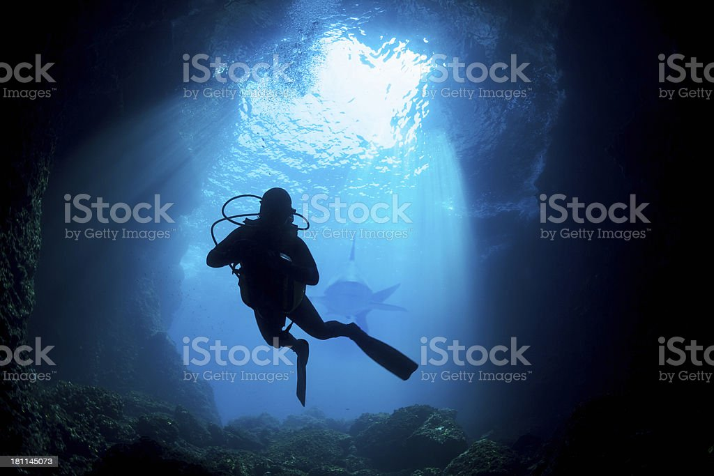 Scuba Diver Silhouette stock photo