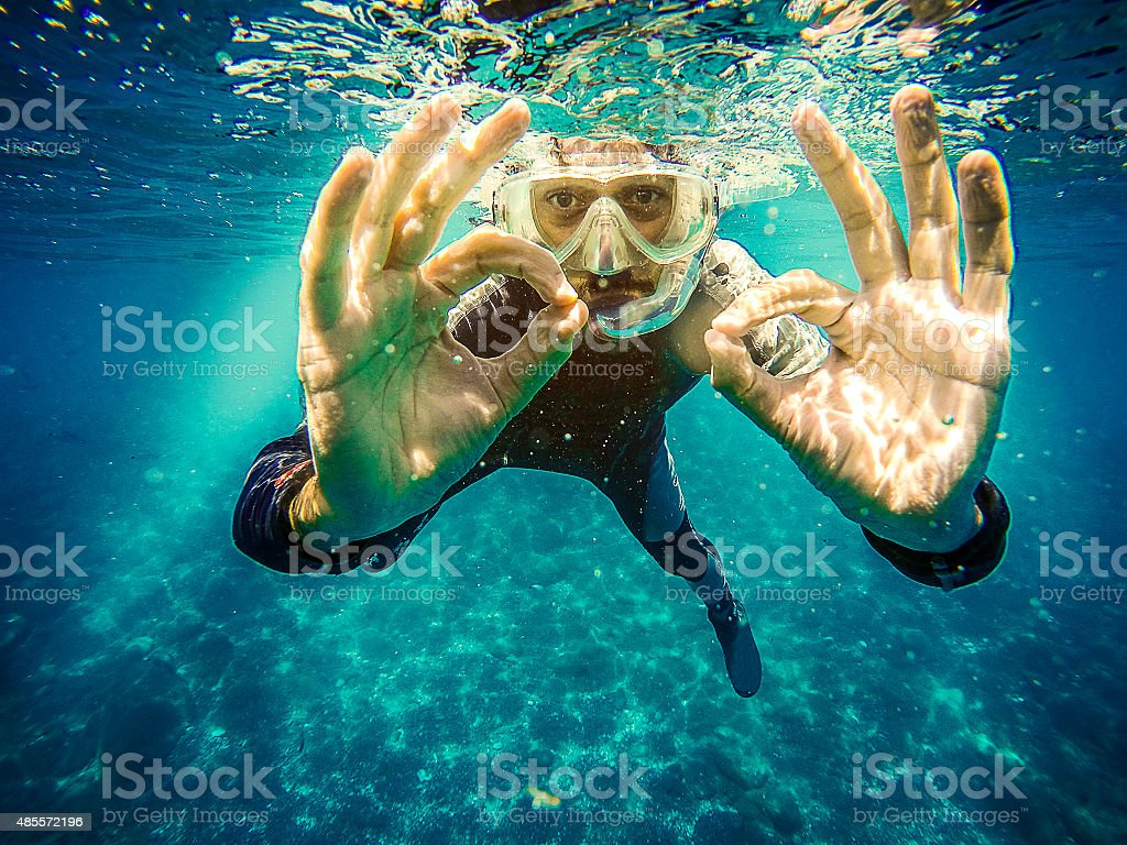 Scuba diver underwater. stock photo