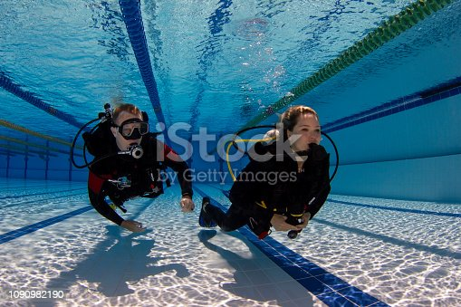 Scuba divers performing a training exercise