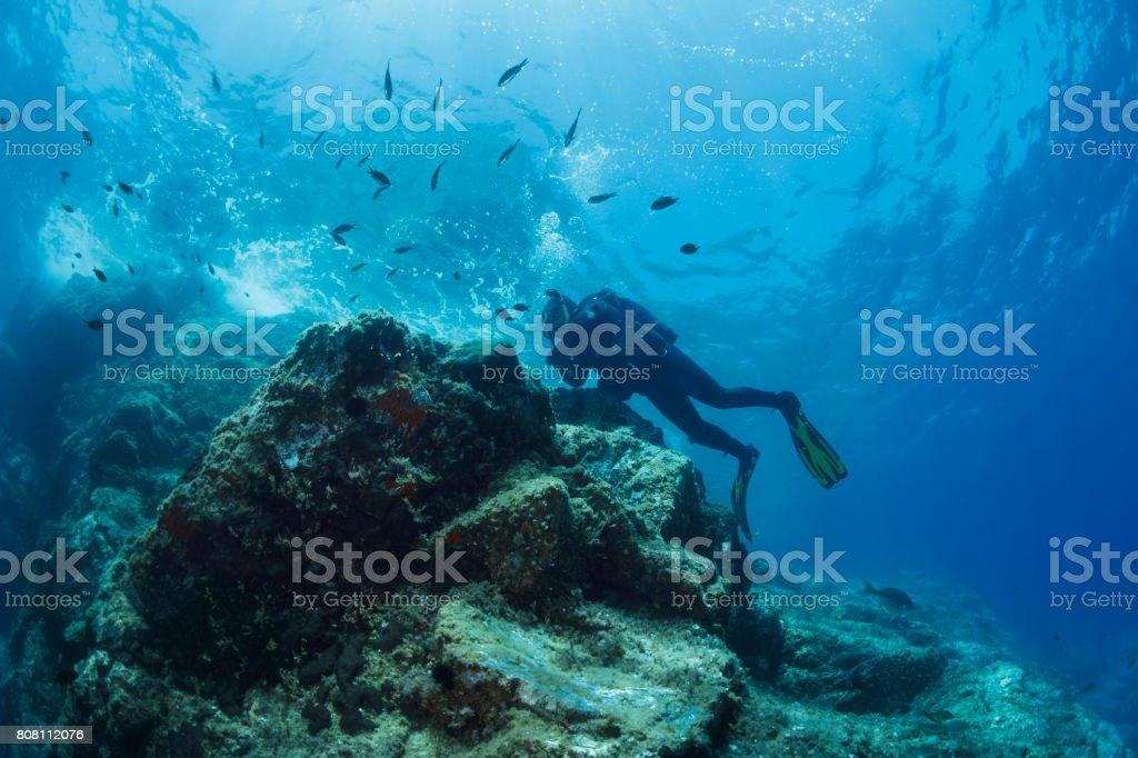 Senior Man Scuba Diver Diving Into The Sea Underwater Turquoise