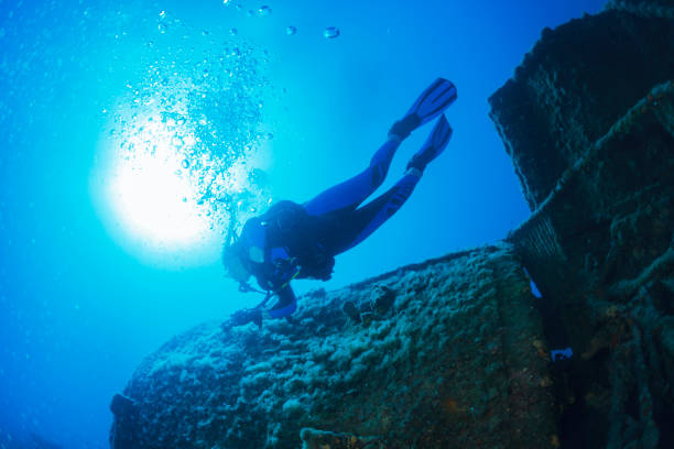 scuba diving exploring and enjoying wreck diving over a shipwreck  sea life  sporting women long blonde hair  water sports  scuba diver point of view - wreck diving stock pictures, royalty-free photos & images