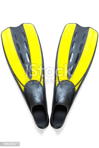 Scuba diving fins, flippers, clipping path, isolated on white background.