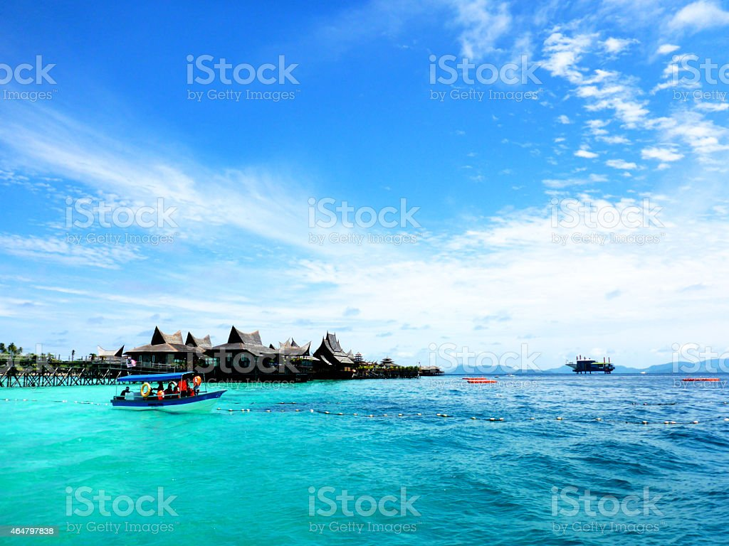 Scuba diving off Mabul Island Sabah Borneo stock photo