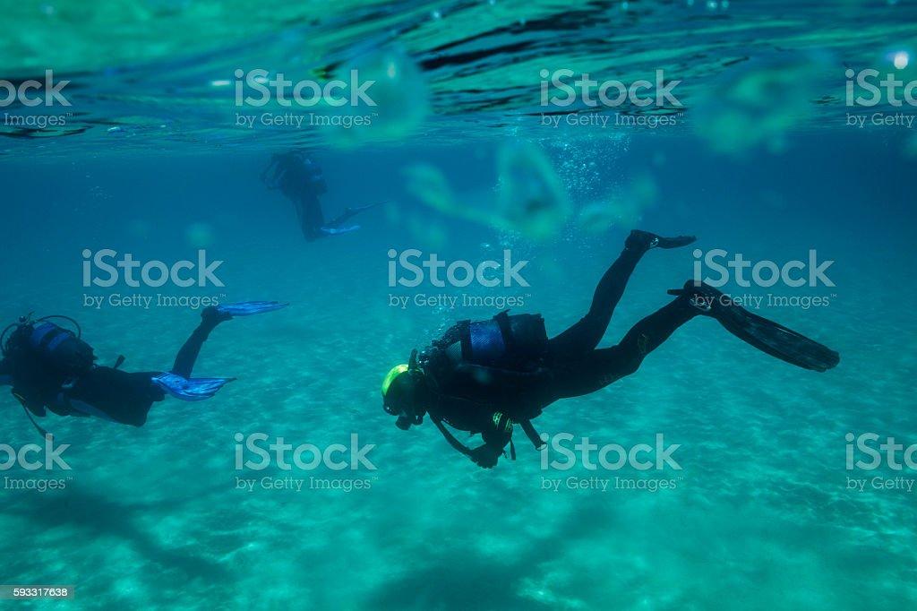 Mergulho Submarino dois mergulhador na Lagoa Azul - foto de acervo