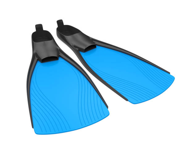 Scuba Fins Isolated Scuba Fins isolated on white background. 3D render diving flipper stock pictures, royalty-free photos & images