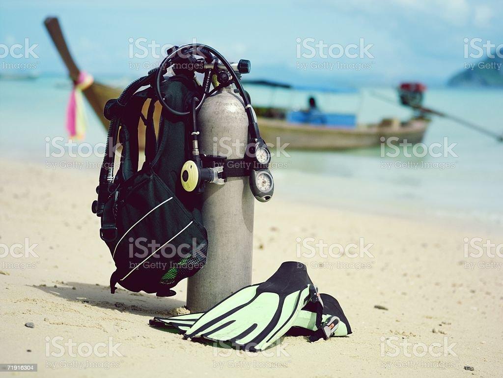 Tanque de mergulho, pés-de-pato - foto de acervo