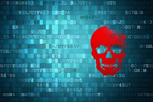 Scull on blue digital background. security concepts Scull on blue digital background. security concepts. threats stock pictures, royalty-free photos & images