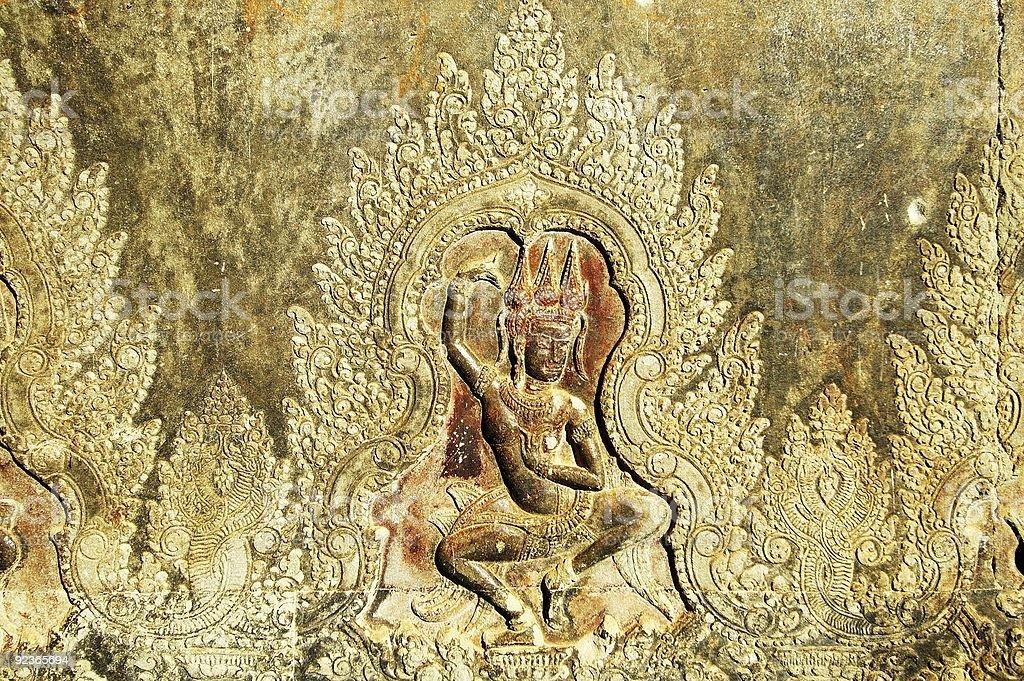 Sculpted wall at corridor of Angkor Wat, Cambodia royalty-free stock photo