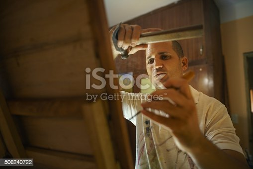istock Sculptor Painter Artist Chiseling A Wooden Bas Relief-3 506240722