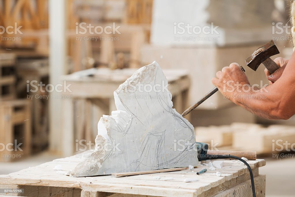 Sculptor Working stock photo