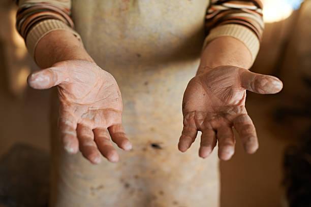 Sculptor's palms stock photo