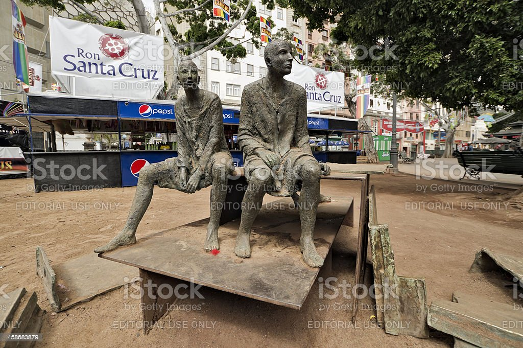 Sculptural group Courage in Santa Cruz stock photo