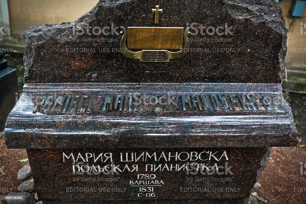 Sculptural monument on the grave of  Maria Szymanowska stock photo
