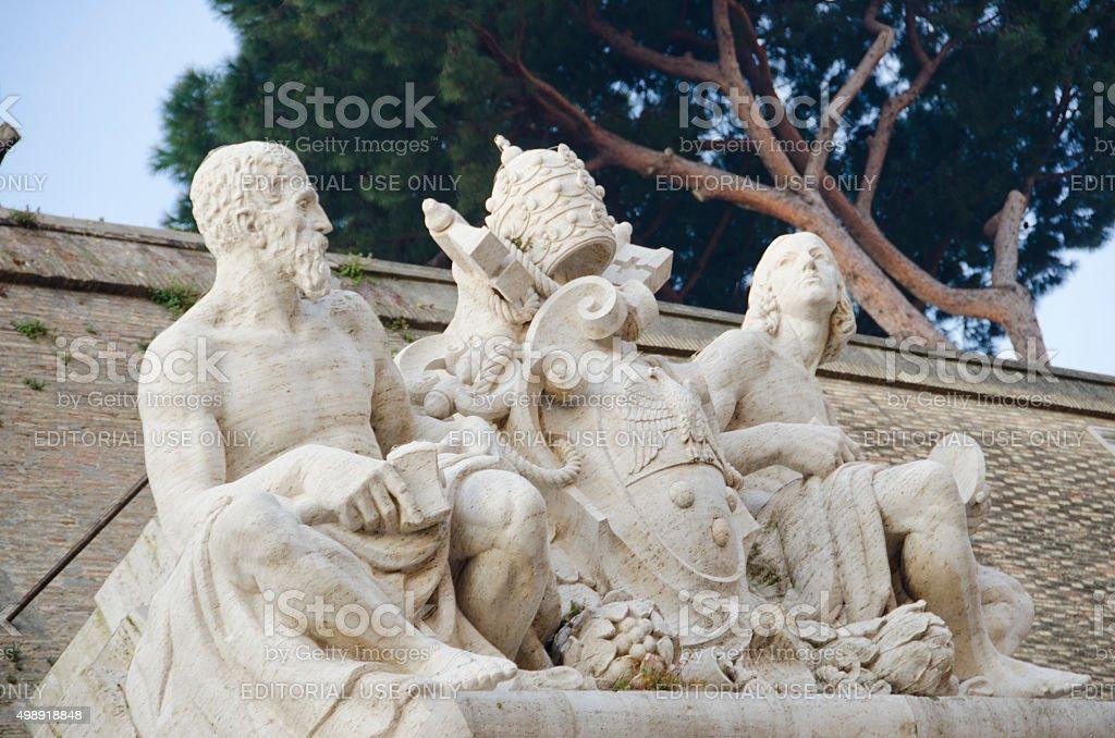 Sculpture Above Vatican Museums Entrance stock photo