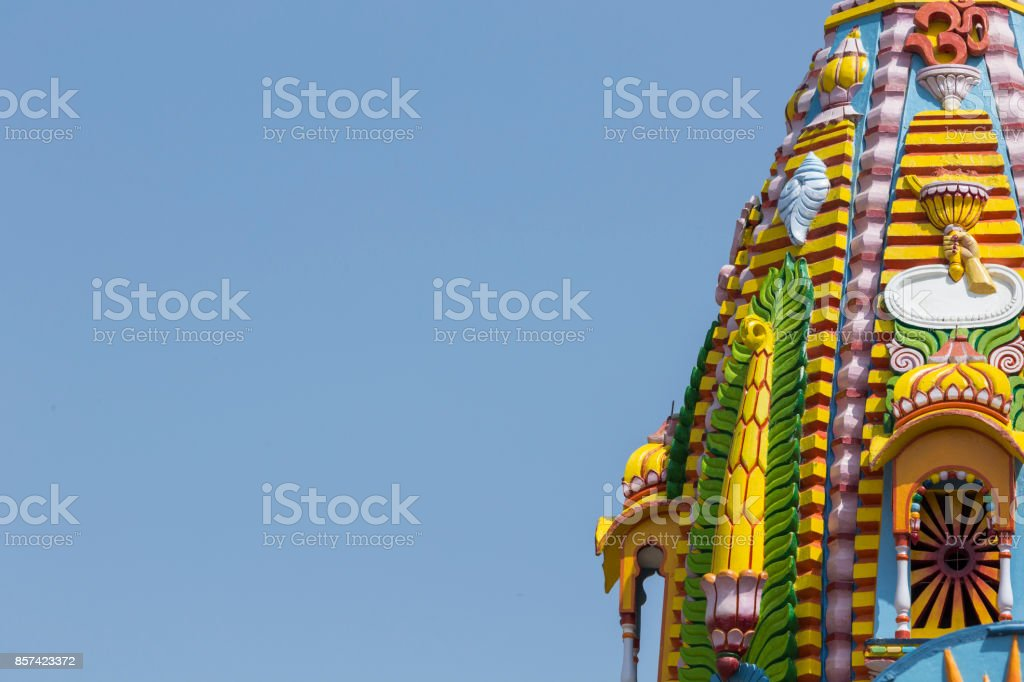 Sculpture, architecture and symbols of Indian Temple stock photo