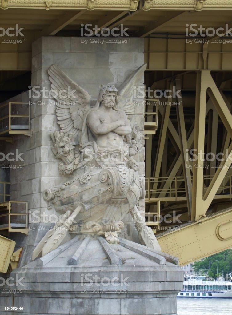 sculpture at Margaret Bridge stock photo