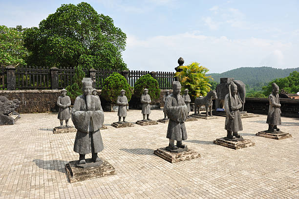 "sculpture  at  Tomb of Khai Dinh ""Tomb of Khai Dinh ,A part of world herritage site in Hue city ,  Vietnam."" khai dinh tomb stock pictures, royalty-free photos & images"