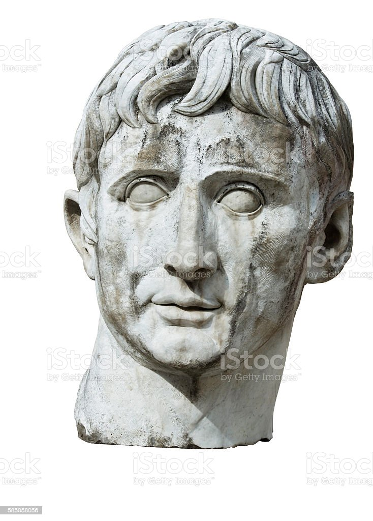 Sculpture Bust Head Caesar Stone Marble Antique Emperor Isolated Clipping-Path stock photo