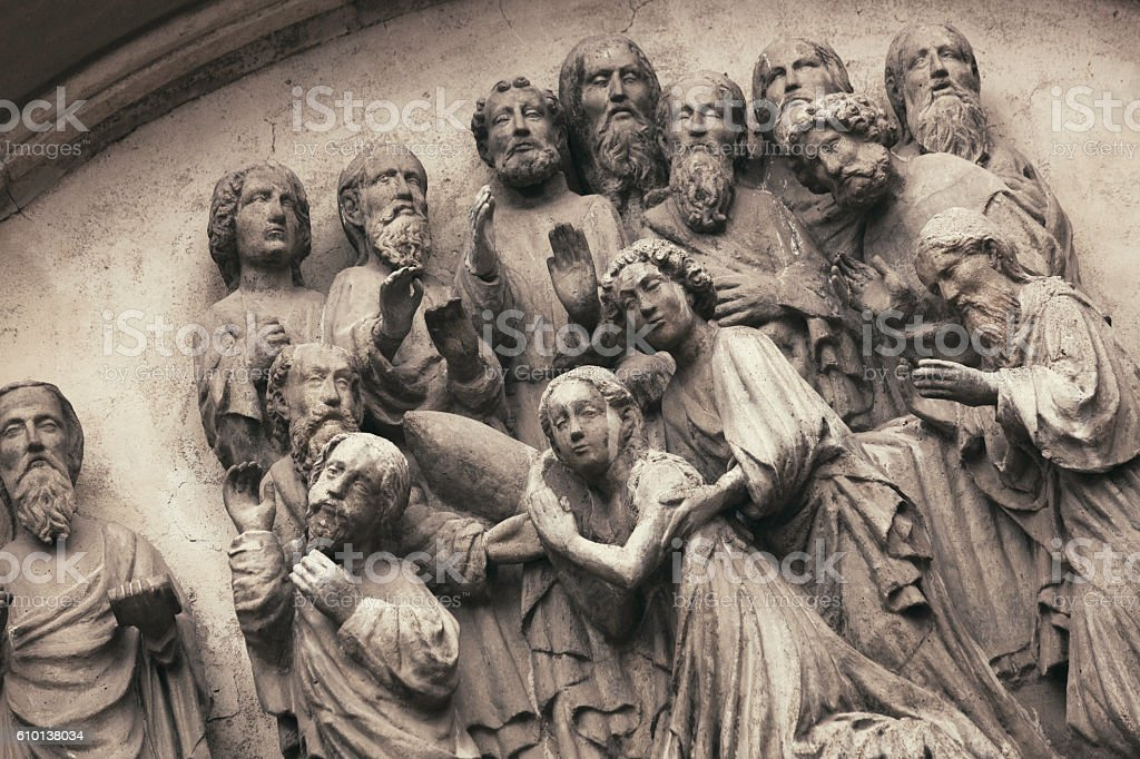 Sculpture from St. Mary's Church, Gdansk stock photo