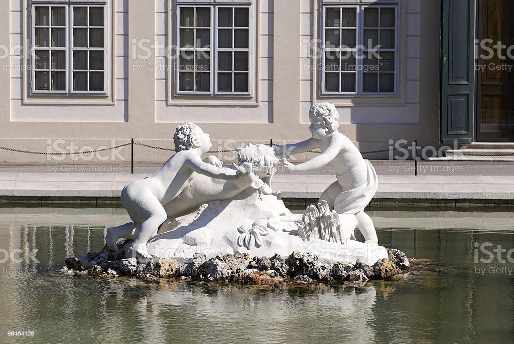 Sculpture in Belvedere`s garden royalty-free stock photo