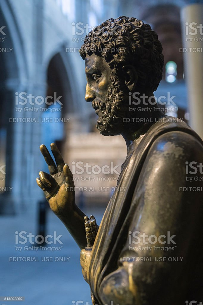 Sculpture in bronze of enthroned Saint Peter, Cathedral of Avila stock photo