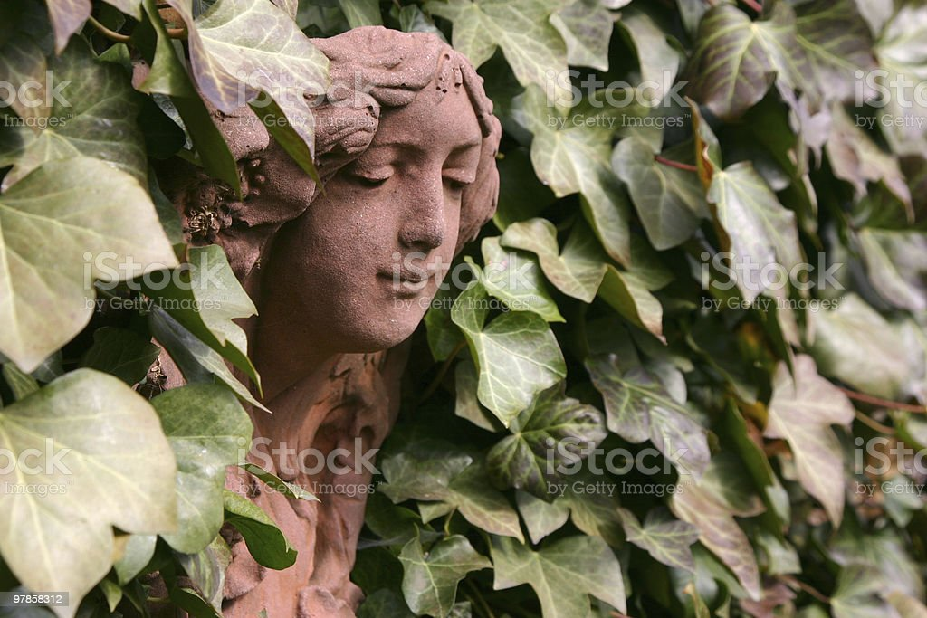 Sculpture in ivy royalty-free stock photo