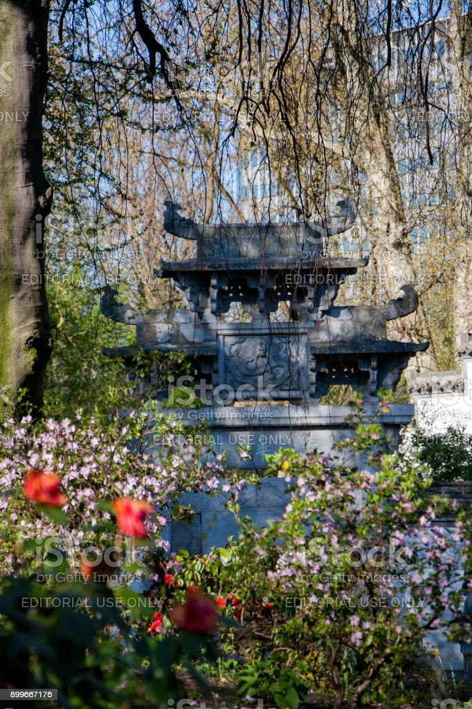 Sculpture in the Chinese garden of Frankfurt stock photo