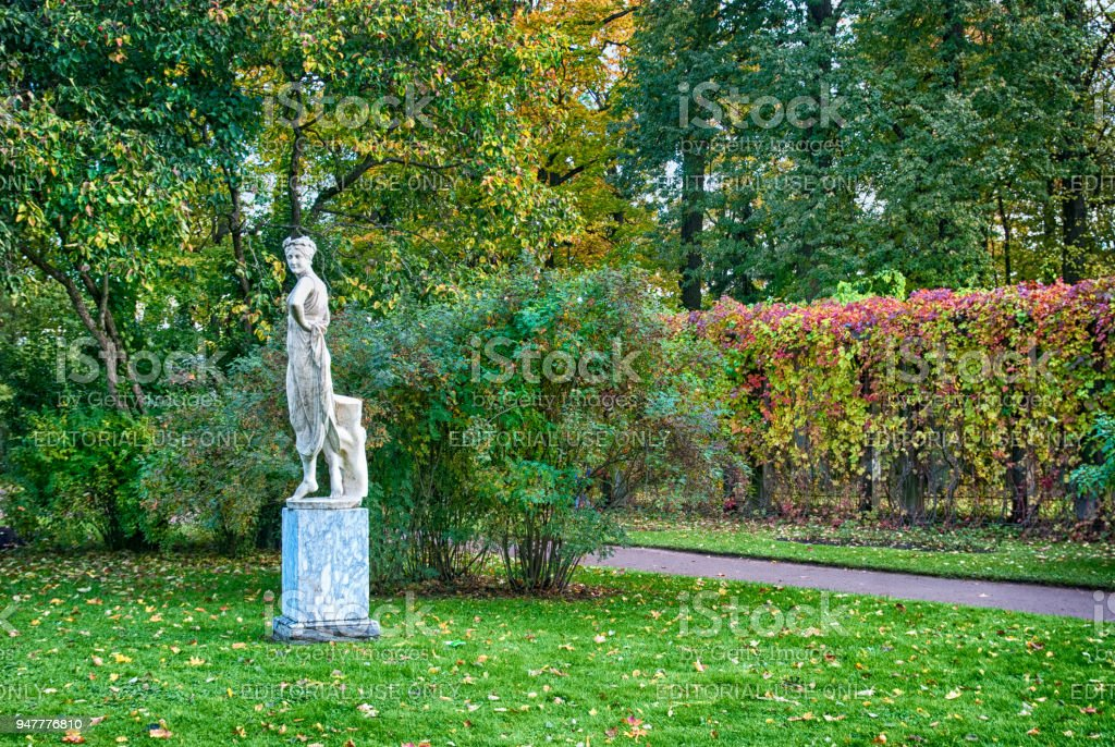 Sculpture in The Private Garden. Tsarskoye Selo. Russia stock photo