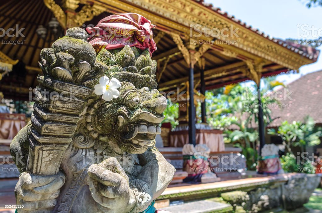 Sculpture in Ubud palace, Bali stock photo