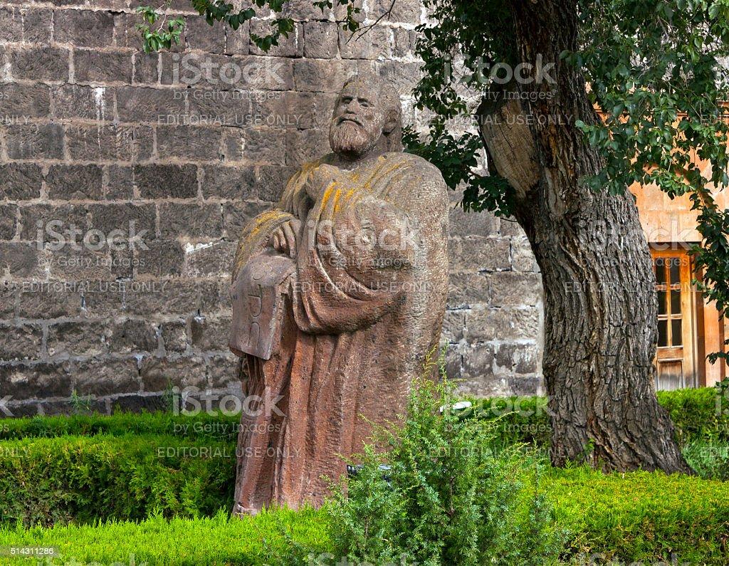 Sculpture Mesrop Mashtots in Oshakan. stock photo