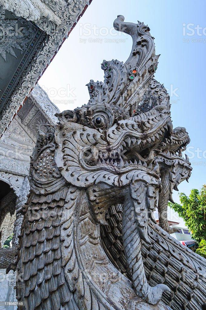 Sculpture Naga snake royalty-free stock photo