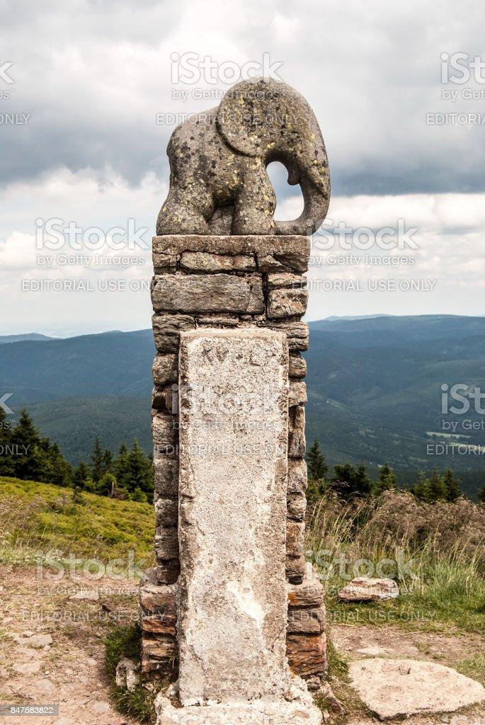 sculpture named Slune (elephant calf) on Kralicky Sneznik hill in Czech republic stock photo