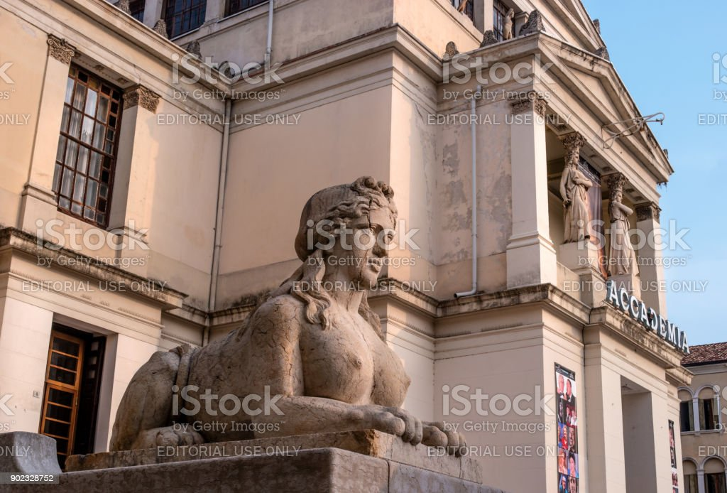 Sculpture of a female lion at the entrance to the Academy. stock photo