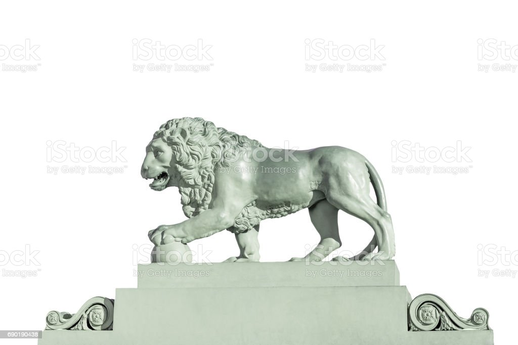 Sculpture of a lion Isolated on white background stock photo