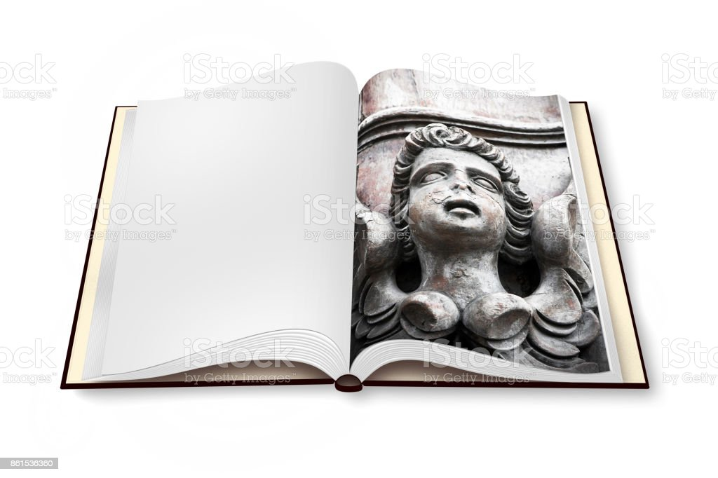 Sculpture of a wooden angel on opened photobook isolated on white background - I'm the copyright owner of the images used in this 3D render. stock photo