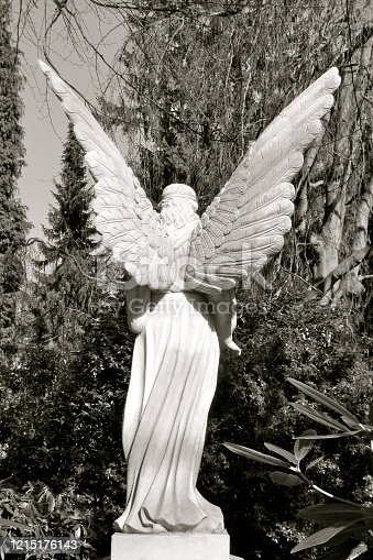 Sculpture of an angel with large wings. Rear view. Beautiful old tombstone made of white marble. Seen in Hamburg Ohlsdorf, Germany, in the largest park cemetery in the world.