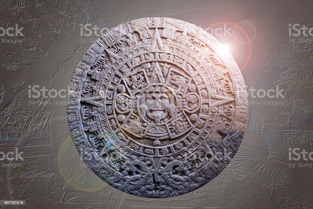 Sculpture of Ancient Mayan Calendar stock photo