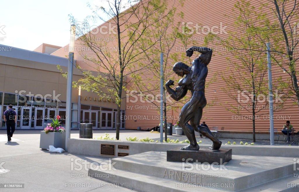 Sculpture of Arnold Schwarzenegger, Columbus stock photo