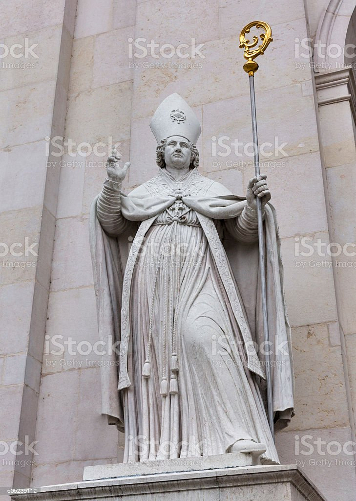Sculpture of famous Salzburg Cathedral at Domplatz, Austria. stock photo