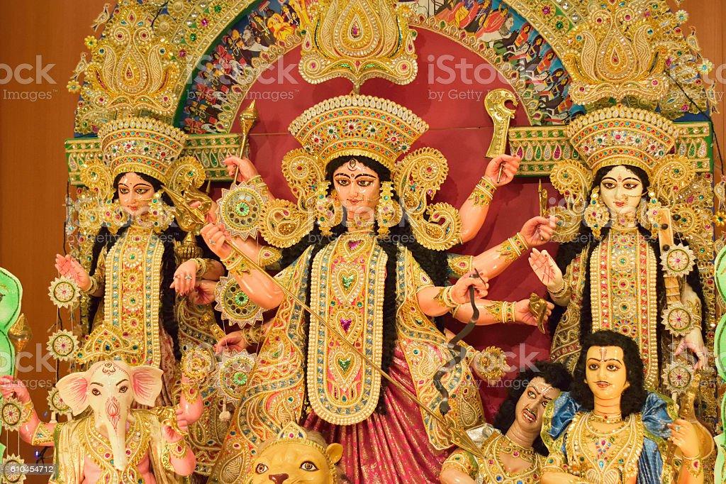 Sculpture of Hindu God & Goddess during Durga puja stock photo