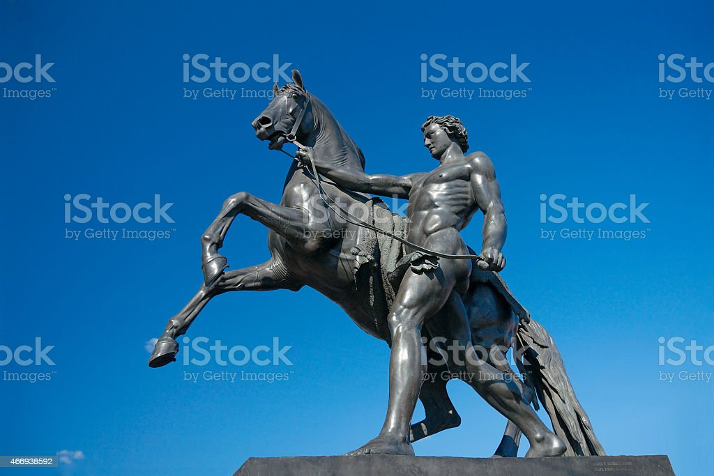 Sculpture of Horse Tamer, Anichkov bridge, Saint Petersburg, Russia stock photo