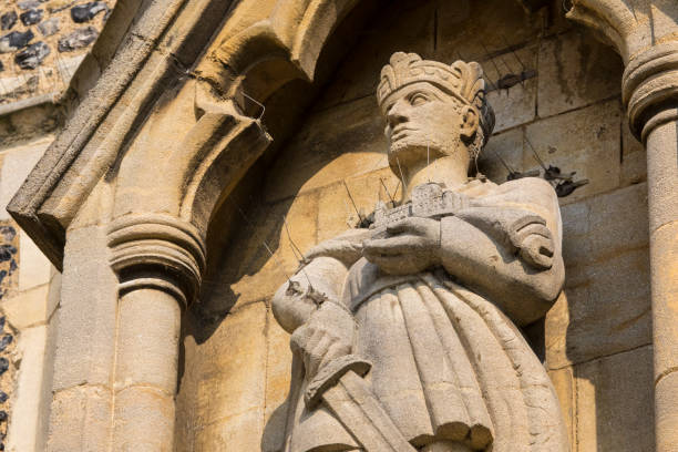 Sculpture of King Harold II at Waltham Abbey Church in Essex stock photo