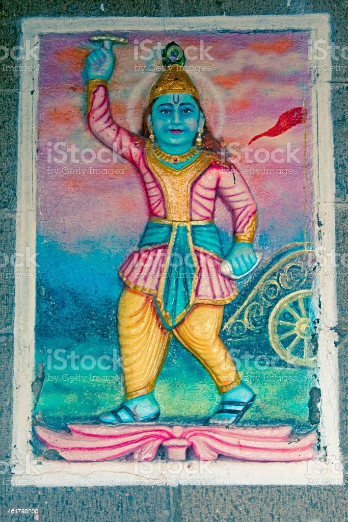 sculpture of lord Krishna stock photo