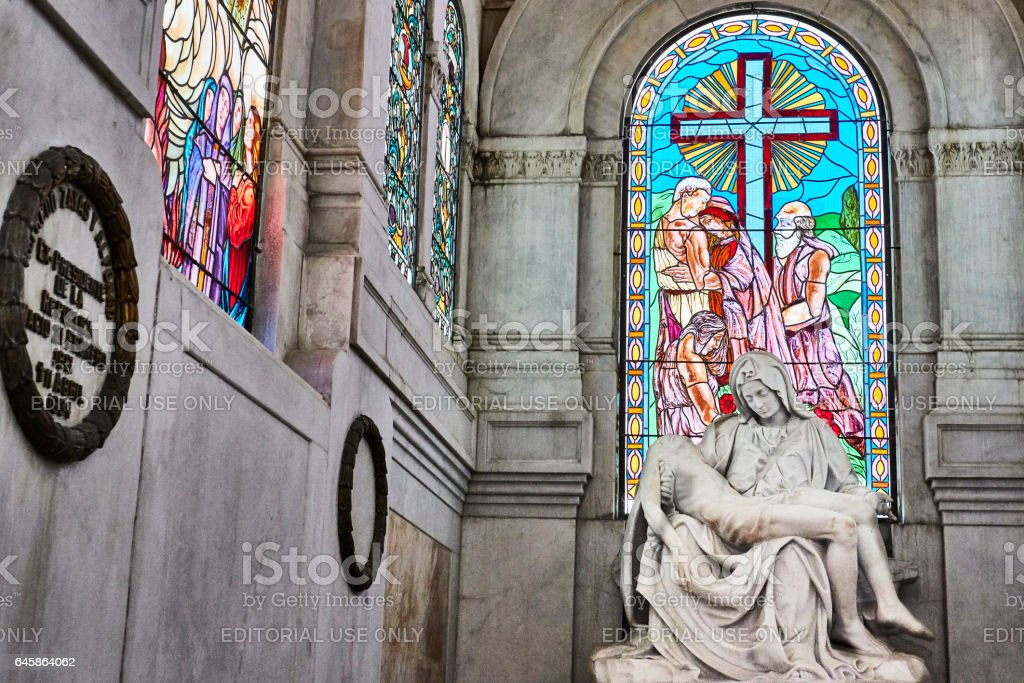 Sculpture of Madonna and Child in Church on Grounds of Cemetario de Cristobal Colon stock photo