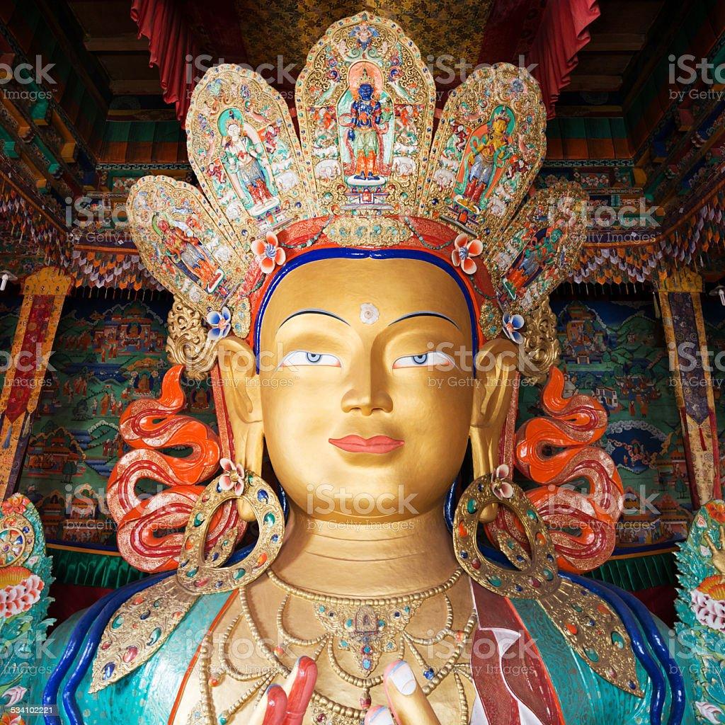 Sculpture of Maitreya buddha at Thiksey Monastery stock photo