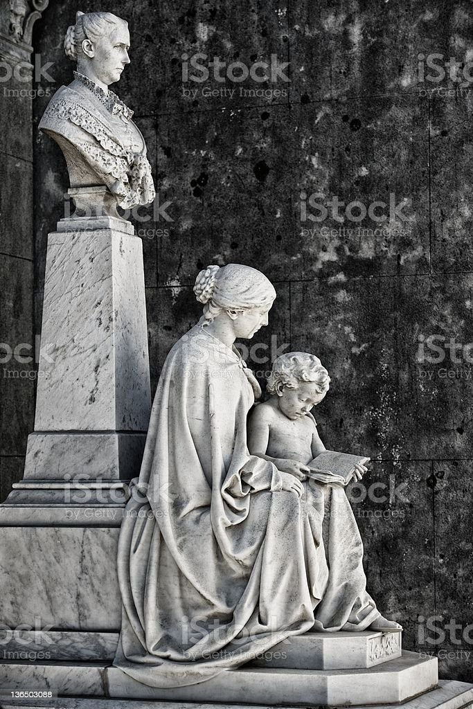 Sculpture of Monumental Cemetery royalty-free stock photo